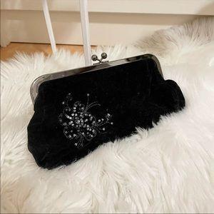 Express black velvet clutch bag